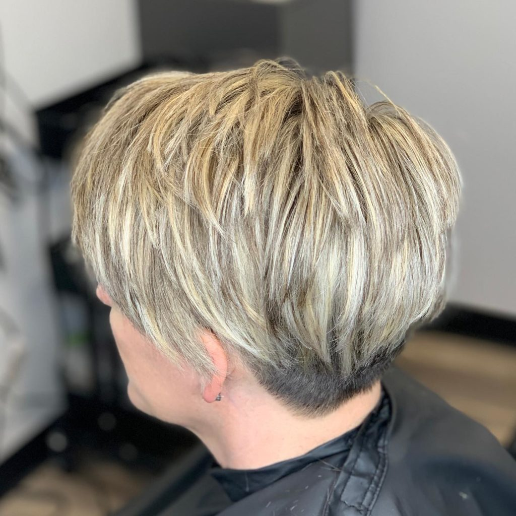 Natural Highlights, short pixie cut - Veronica's Hair Studio Milwaukee